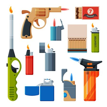 Collection of Cigarette and Kitchen Lighters, Matchboxes with Matches, Flammable Smoking, Bonfire, Stove Equipment Vector Illustration