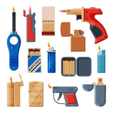 Collection of Cigarette and Stove Kitchen Lighters, Matchboxes with Matches, Flammable Smoking Equipment Vector Illustration