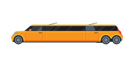Yellow Limousine Car, Premium Luxurious Limo Vehicle, Side View Flat Vector Illustration
