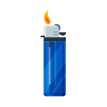 Plastic Cigarette Lighter with Fire, Flammable Smoking Equipment Vector Illustration on White Background. Illustration