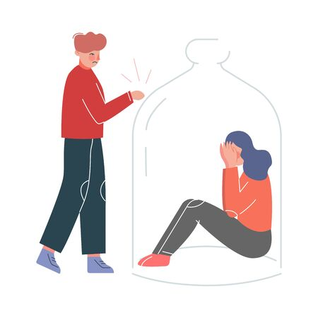 Young Man Trying to Reach on a Girl Sitting under Glass Dome, Unrequited Love, Depression, Loneliness Vector Illustration