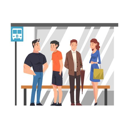 Group of Passengers Waiting for Public Transportation, People Spending Time in Expectation Cartoon Vector Illustration Stock Illustratie