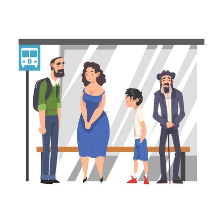 Group of People Waiting for Public Transportation at Bus Stop, Passengers Spending Time in Expectation at City Street Cartoon Vector Illustration