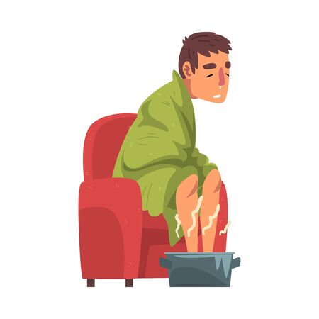 Sick Man Sitting under Green Plaid, Guy with Flu Heating his Feet in Basin with Hot Water Cartoon Vector Illustration on White Background Stock Illustratie