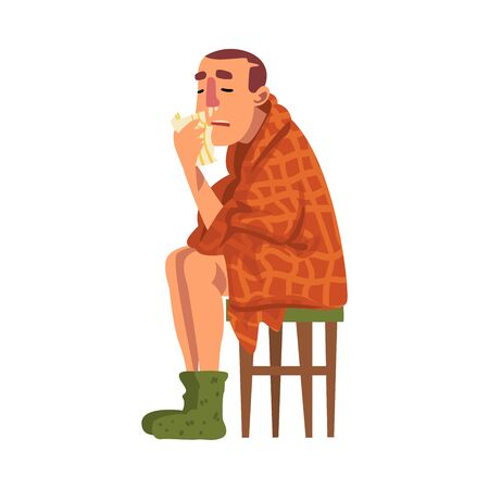 Sick Man Sitting on Chair Wrapped in Plaid, Guy with Flu Wearing Knitted Socks Holding Handkerchief to His Runny Nose Cartoon Vector Illustration
