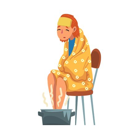 Young Woman Catch Cold, Sick Girl with Flu Sitting under Cozy Plaid Heating her Feet in Basin with Hot Water Cartoon Vector Illustration