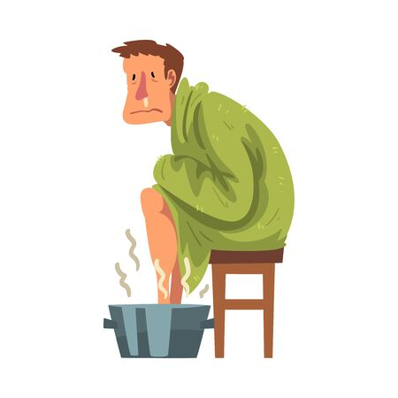 Sick Man with Runny Nose Sitting under Cozy Plaid, Guy Heating his Feet in Basin with Hot Water Cartoon Vector Illustration Stock Illustratie