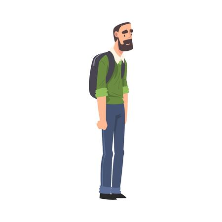 Bearded Man Standing with Backpack, Guy Spending Time in Expectation at Bus Stop Cartoon Vector Illustration