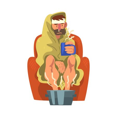 Sick Man with Runny Nose and Headache, Guy with Mug in his Hands Heating his Feet in Basin with Hot Water Cartoon Vector Illustration Stock Illustratie