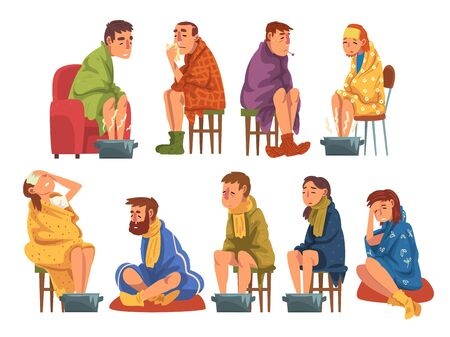 Sick People Wrapped Plaids Collection, Men and Women with Flu Heating their Feet in Basin with Hot Water, Measuring Temperature with Thermometer, Suffering from Headache Cartoon Vector Illustration