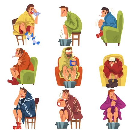 Unhappy Sick People Wrapped Plaids Collection, Men and Women with Flu Heating their Feet in Basin with Hot Water, Measuring Temperature with Thermometer Cartoon Vector Illustration