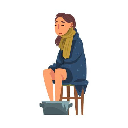 Young Woman Catch Cold, Sick Girl Sitting under Cozy Plaid Heating her Feet in Basin with Hot Water Cartoon Vector Illustration on White Background.