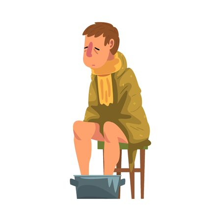 Sick Man Sitting on Chair under Plaid, Guy with Flu Heating his Feet in Basin with Hot Water Cartoon Vector Illustration on White Background.