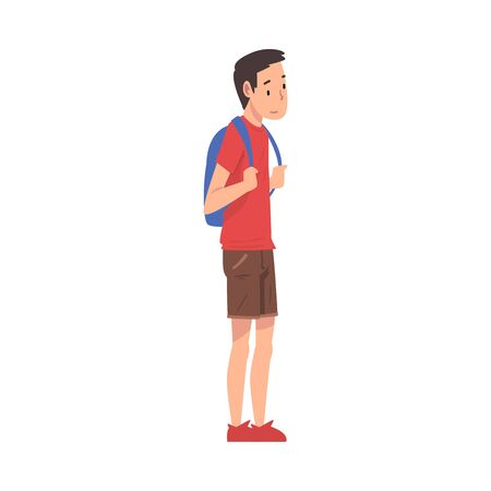 Teen Boy Standing with Backpack, Teenager Spending Time in Expectation at Bus Stop Cartoon Vector Illustration on White Background.