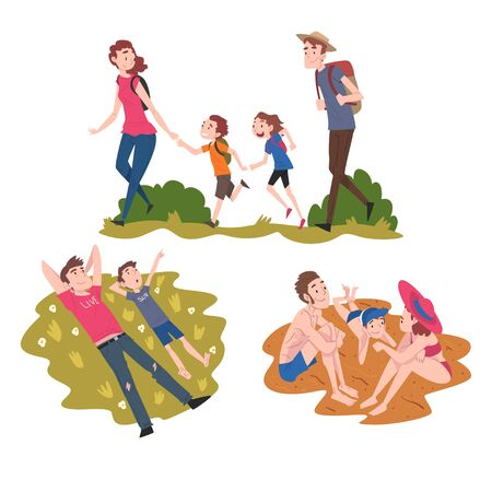 Dad, Mom and their Kids Walking and Sunbathing, Family Members Spending Joyful Time Together Outdoors, Cartoon Style Vector Illustration