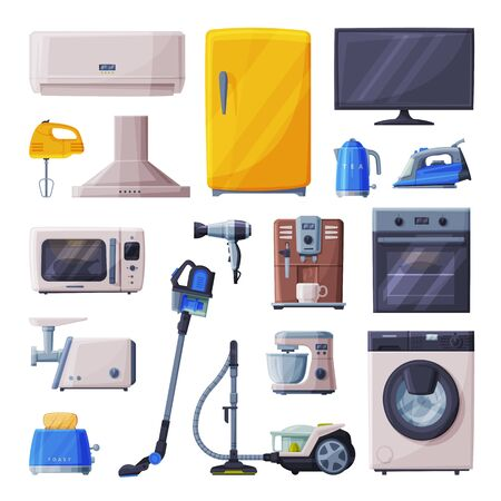Household Appliances Set, Air Conditioner, Toaster, Vacuum Cleaner, Television, , Coffee Machine, Microwave Oven, Meat Grinder, Food Mixer Flat Style Vector Illustration