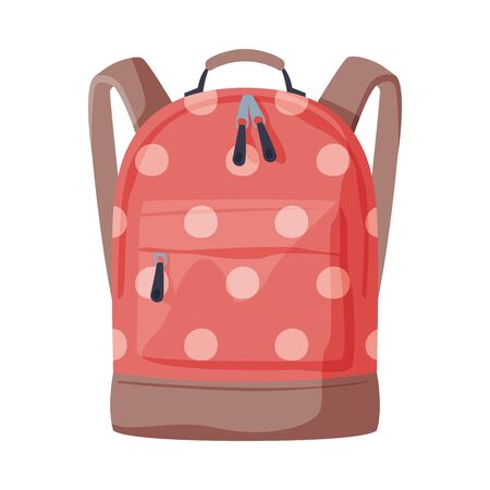 Front View of Red Dotted Backpack with Front Zippered Pocket for Schoolchildren or Students Flat Style Vector Illustration