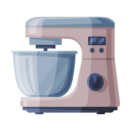 Electric Food Processor with Bowl, Household Kitchen Appliance Flat Style Vector Illustration on White Background