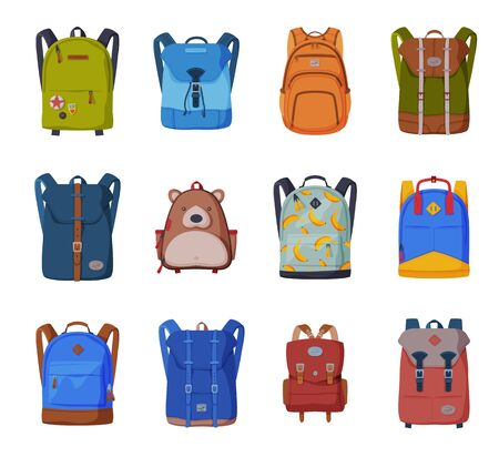 Backpacks for Schoolchildren or Students Collection, Front View of Travel Bags Flat Style Vector Illustration on White Background
