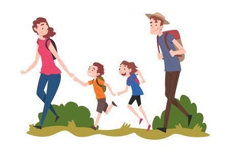 Mom, Dad their Son and Daughter Hiking on Nature, Summer Vacation Adventures, Family Members Spending Joyful Time Together Outdoors Cartoon Vector Illustration Vektorové ilustrace