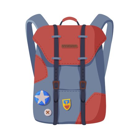Backpack for Schoolchildren or Students, Front View of Travel Bag for Backpacking Flat Style Vector Illustration