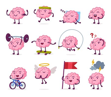 Cute Pink Brain with Various Emotions Set, Funny Human Nervous System Organ Cartoon Character in Different Situations Vector Illustration on White Background