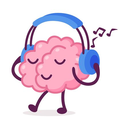 Pink Brain Walking and Listening Music with Headphones, Funny Human Nervous System Organ Cartoon Character Vector Illustration on White Background