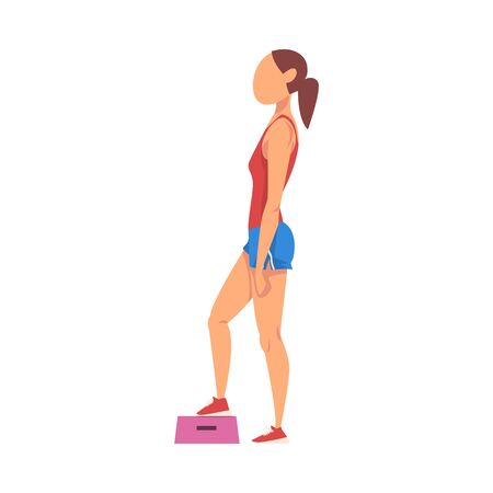 Woman Doing Exercise Using Steps Platform, Girl Doing Sports Firming her Body, Buttock Workout Vector Illustration on White Background