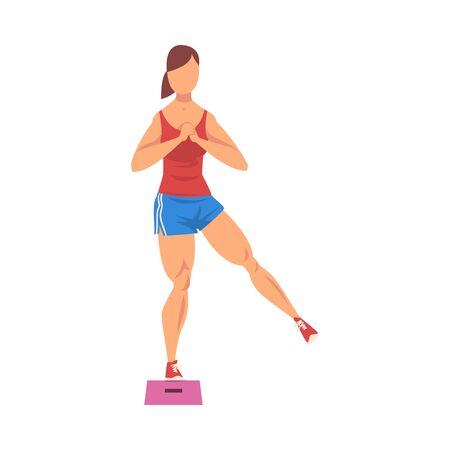 Woman Doing Glute Exercise Using Steps Platform, Girl Doing Sports Firming her Body, Buttock Workout Vector Illustration on White Background