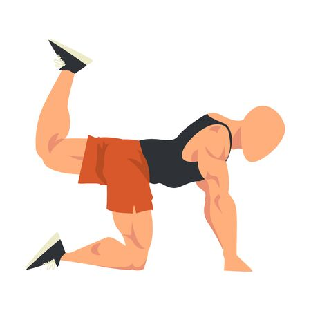 Man Doing Donkey Kicks Exercise, Side View of Male Athlete Doing Sports for Fit Body, Buttock Workout Vector Illustration on White Background