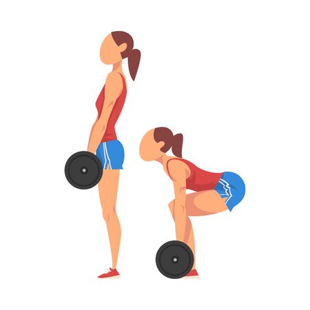 Woman Doing Squats with Barbell in Two Steps, Girl Doing Sports Firming her Body, Buttock Workout Vector Illustration Isolated on White Background