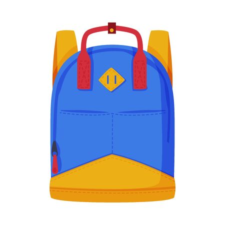 Front View of Travel Bag for Backpacking Flat Style Vector Illustration Isolated on White Background