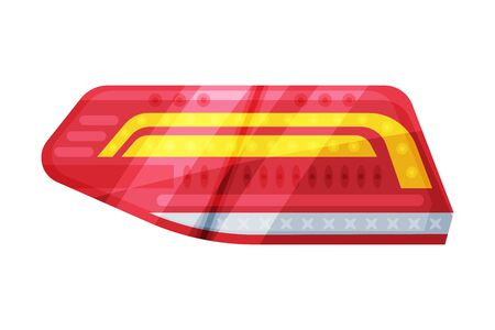 Automotive Auto Car Headlights, Rare Glowing Headlamps, Brake Lights Flat Style Vector Illustration on White Background