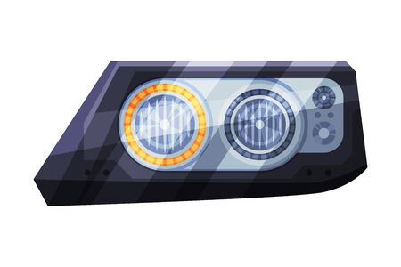 Modern Led Auto Headlights, Brake Rare Headlamps Flat Style Vector Illustration on White Background