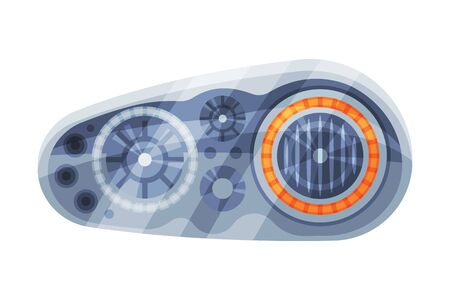 Modern Auto Car Headlights, Brake Rare Headlamps Flat Style Vector Illustration on White Background Illustration