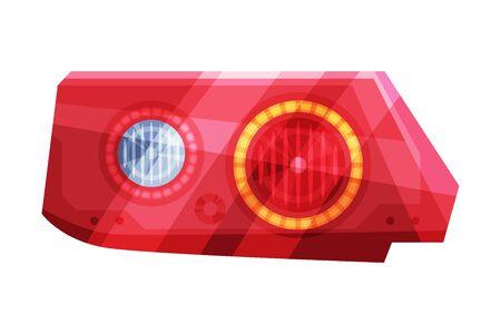 Bright Auto Car Headlights, Rare Glowing Headlamps, Brake Lights Flat Style Vector Illustration on White Background