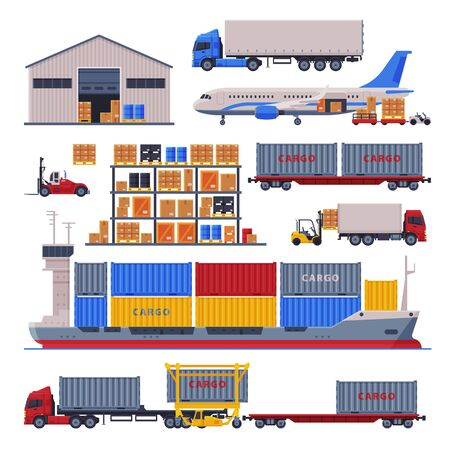 Warehouse Logistic and Delivery Set, Storage Building and Cargo Transportation Vehicles Flat Style Vector Illustration on White Background