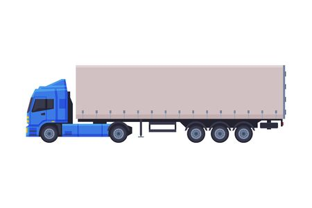 Trailer Truck, Delivery Cargo Vehicle Flat Style Vector Illustration on White Background Ilustración de vector