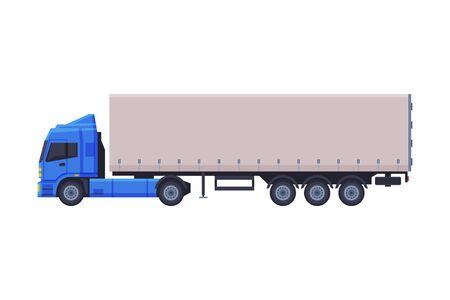 Anhänger-LKW, Lieferung Cargo Vehicle Flat Style Vector Illustration auf weißem Hintergrund Vektorgrafik