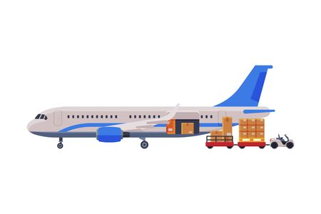 Cargo Jet Airplane, Freight Cargo Transport with Cardboard Boxes and Forklift Flat Style Vector Illustration on White Background