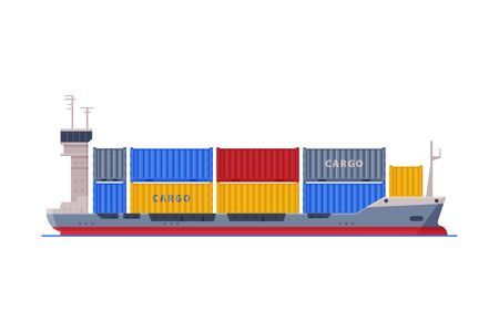 Cargo Ship, Shipping Freight Transportation Vector Illustration Isolated on White Background