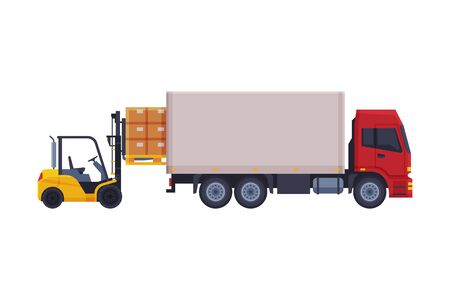 Forklift Truck Loading Cardboard Boxes in Delivery Truck Vector Illustration on White Background