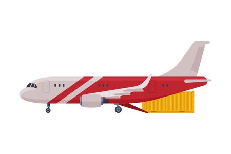 Cargo Jet Airplane, Freight Cargo Transport Flat Style Vector Illustration on White Background