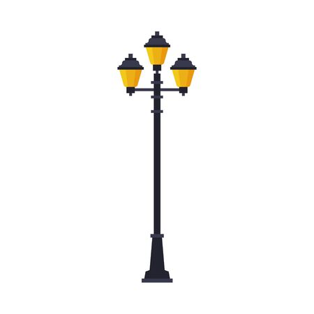 Retro Streetlights, Lamppost, Urban Infrastructure Design Element Flat Style Vector Illustration on White Background 矢量图像