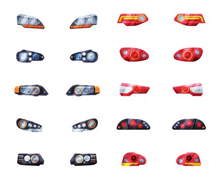 Modern Auto Headlights Set, Front and Rare Led Headlamps Flat Style Vector Illustration on White Background