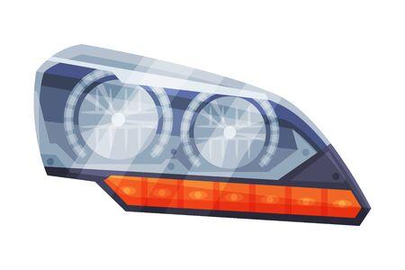 Automotive Auto Car Headlights, Front Glowing Headlamps Flat Style Vector Illustration on White Background Ilustrace