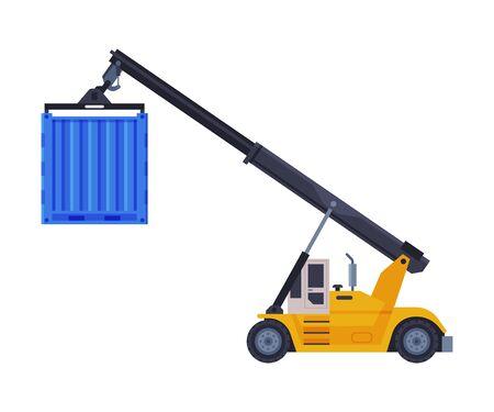 Crane Truck Special Transport Flat Style Vector Illustration on White Background Illustration