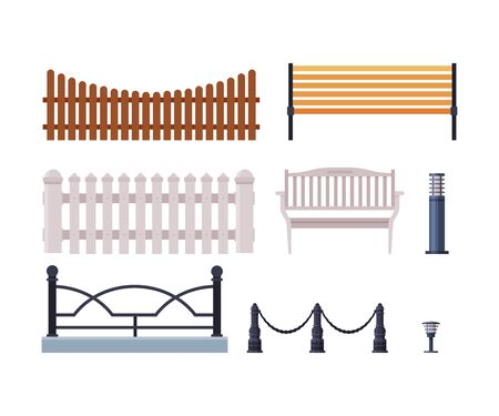 Decorative Fences Collection, Wooden, Wrought Iron Fence, Urban Infrastructure Design Element, Flat Style Vector Illustration on White Background