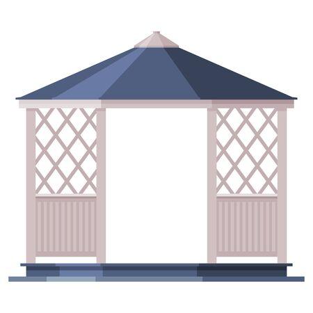 Garden or Park Gazebo, Urban Infrastructure Design Element, Flat Style Vector Illustration on White Background