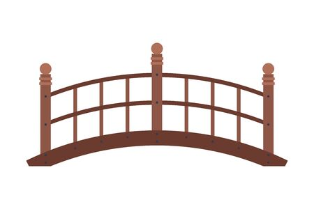 Arched Wooden Bridge, Urban Infrastructure Design Element, Flat Style Vector Illustration Isolated on White Background. 矢量图像
